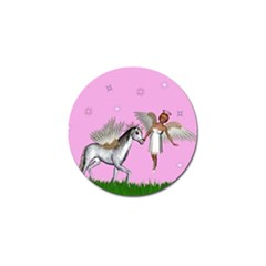Unicorn And Fairy In A Grass Field And Sparkles Golf Ball Marker