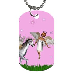 Unicorn And Fairy In A Grass Field And Sparkles Dog Tag (Two-sided)