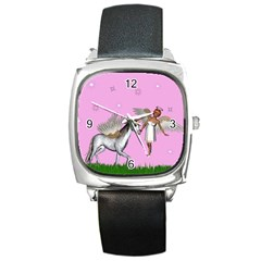 Unicorn And Fairy In A Grass Field And Sparkles Square Leather Watch