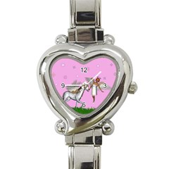 Unicorn And Fairy In A Grass Field And Sparkles Heart Italian Charm Watch