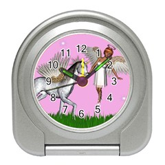 Unicorn And Fairy In A Grass Field And Sparkles Desk Alarm Clock