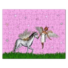Unicorn And Fairy In A Grass Field And Sparkles Jigsaw Puzzle (Rectangle)