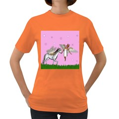 Unicorn And Fairy In A Grass Field And Sparkles Women s T-shirt (Colored)