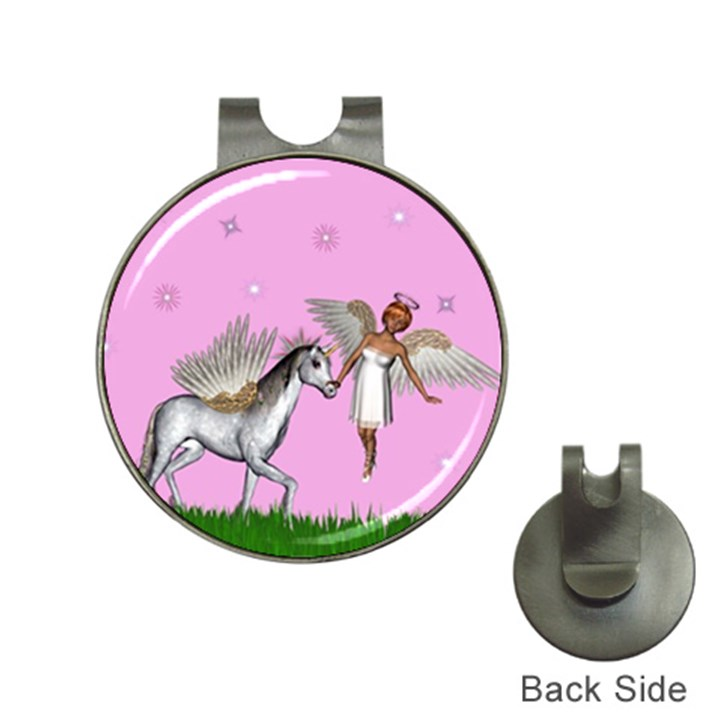Unicorn And Fairy In A Grass Field And Sparkles Hat Clip with Golf Ball Marker