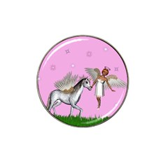 Unicorn And Fairy In A Grass Field And Sparkles Golf Ball Marker 4 Pack (for Hat Clip)