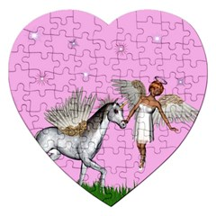 Unicorn And Fairy In A Grass Field And Sparkles Jigsaw Puzzle (Heart)