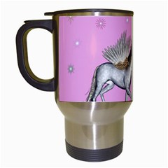 Unicorn And Fairy In A Grass Field And Sparkles Travel Mug (White)