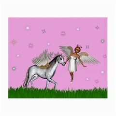 Unicorn And Fairy In A Grass Field And Sparkles Glasses Cloth (small)