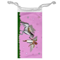 Unicorn And Fairy In A Grass Field And Sparkles Jewelry Bag