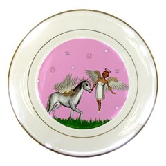 Unicorn And Fairy In A Grass Field And Sparkles Porcelain Display Plate