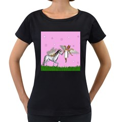 Unicorn And Fairy In A Grass Field And Sparkles Women s Maternity T-shirt (Black)