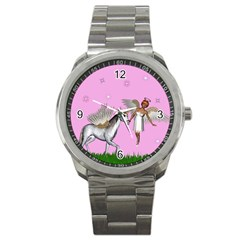 Unicorn And Fairy In A Grass Field And Sparkles Sport Metal Watch