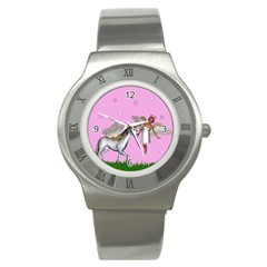 Unicorn And Fairy In A Grass Field And Sparkles Stainless Steel Watch (slim)