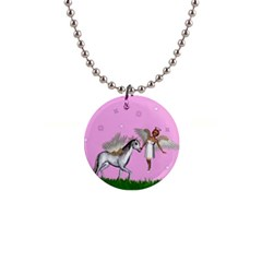 Unicorn And Fairy In A Grass Field And Sparkles Button Necklace