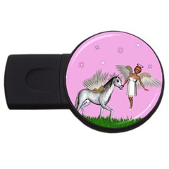 Unicorn And Fairy In A Grass Field And Sparkles 4gb Usb Flash Drive (round)