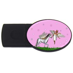 Unicorn And Fairy In A Grass Field And Sparkles 4gb Usb Flash Drive (oval)