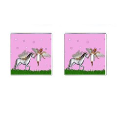 Unicorn And Fairy In A Grass Field And Sparkles Cufflinks (square)