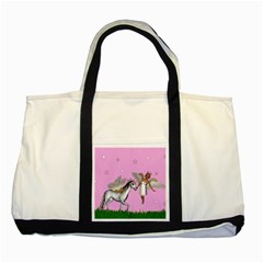 Unicorn And Fairy In A Grass Field And Sparkles Two Toned Tote Bag
