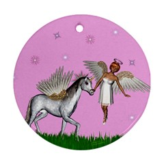 Unicorn And Fairy In A Grass Field And Sparkles Round Ornament (Two Sides)