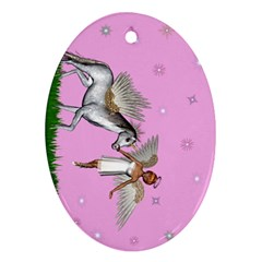 Unicorn And Fairy In A Grass Field And Sparkles Oval Ornament (Two Sides)