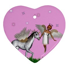 Unicorn And Fairy In A Grass Field And Sparkles Heart Ornament (Two Sides)