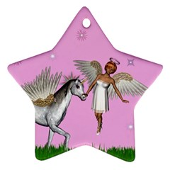Unicorn And Fairy In A Grass Field And Sparkles Star Ornament (Two Sides)