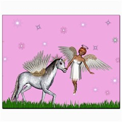 Unicorn And Fairy In A Grass Field And Sparkles Canvas 8  X 10  (unframed)