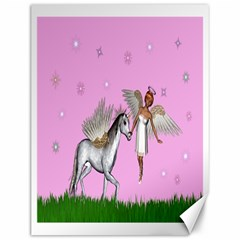Unicorn And Fairy In A Grass Field And Sparkles Canvas 12  x 16  (Unframed)