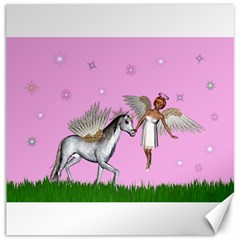 Unicorn And Fairy In A Grass Field And Sparkles Canvas 16  X 16  (unframed)