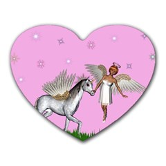 Unicorn And Fairy In A Grass Field And Sparkles Mouse Pad (Heart)