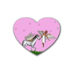 Unicorn And Fairy In A Grass Field And Sparkles Drink Coasters 4 Pack (Heart)