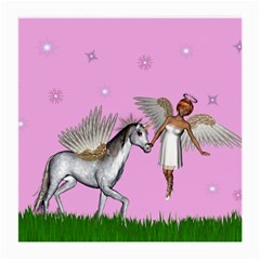 Unicorn And Fairy In A Grass Field And Sparkles Glasses Cloth (Medium, Two Sided)
