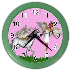 Unicorn And Fairy In A Grass Field And Sparkles Wall Clock (color)