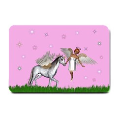 Unicorn And Fairy In A Grass Field And Sparkles Small Door Mat