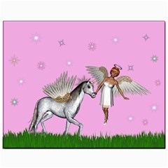Unicorn And Fairy In A Grass Field And Sparkles Canvas 11  x 14  (Unframed)