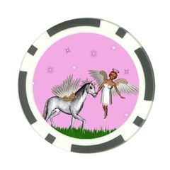 Unicorn And Fairy In A Grass Field And Sparkles Poker Chip