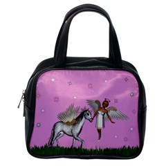 Unicorn And Fairy In A Grass Field And Sparkles Classic Handbag (one Side)