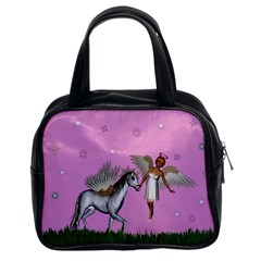 Unicorn And Fairy In A Grass Field And Sparkles Classic Handbag (two Sides)