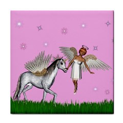 Unicorn And Fairy In A Grass Field And Sparkles Face Towel