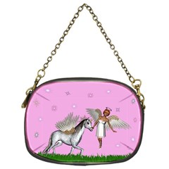 Unicorn And Fairy In A Grass Field And Sparkles Chain Purse (One Side)