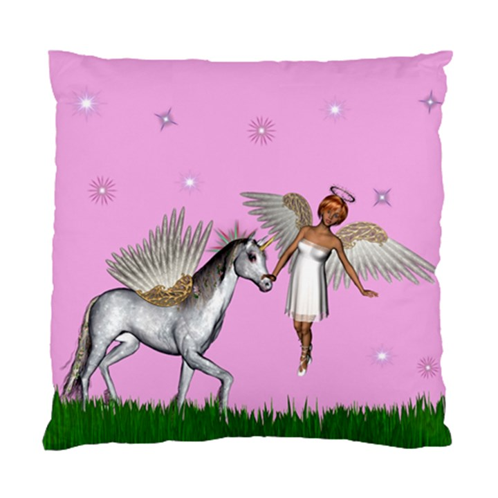 Unicorn And Fairy In A Grass Field And Sparkles Cushion Case (Single Sided)
