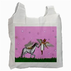Unicorn And Fairy In A Grass Field And Sparkles Recycle Bag (two Sides)