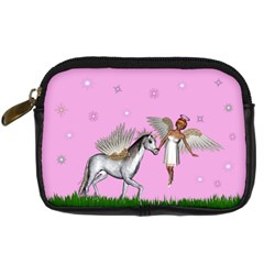 Unicorn And Fairy In A Grass Field And Sparkles Digital Camera Leather Case