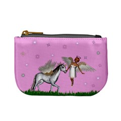 Unicorn And Fairy In A Grass Field And Sparkles Coin Change Purse