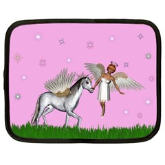 Unicorn And Fairy In A Grass Field And Sparkles Netbook Sleeve (xl)