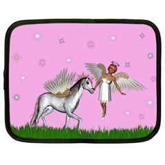 Unicorn And Fairy In A Grass Field And Sparkles Netbook Sleeve (xxl)