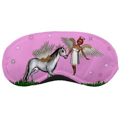 Unicorn And Fairy In A Grass Field And Sparkles Sleeping Mask