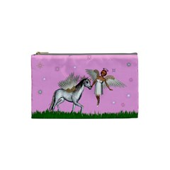 Unicorn And Fairy In A Grass Field And Sparkles Cosmetic Bag (Small)
