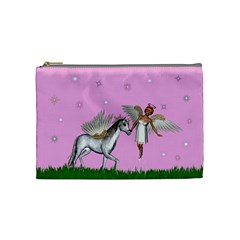 Unicorn And Fairy In A Grass Field And Sparkles Cosmetic Bag (Medium)