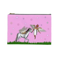 Unicorn And Fairy In A Grass Field And Sparkles Cosmetic Bag (Large)